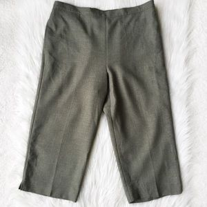 Alfred Dunner Casual Cropped Pants Slacks Green 14